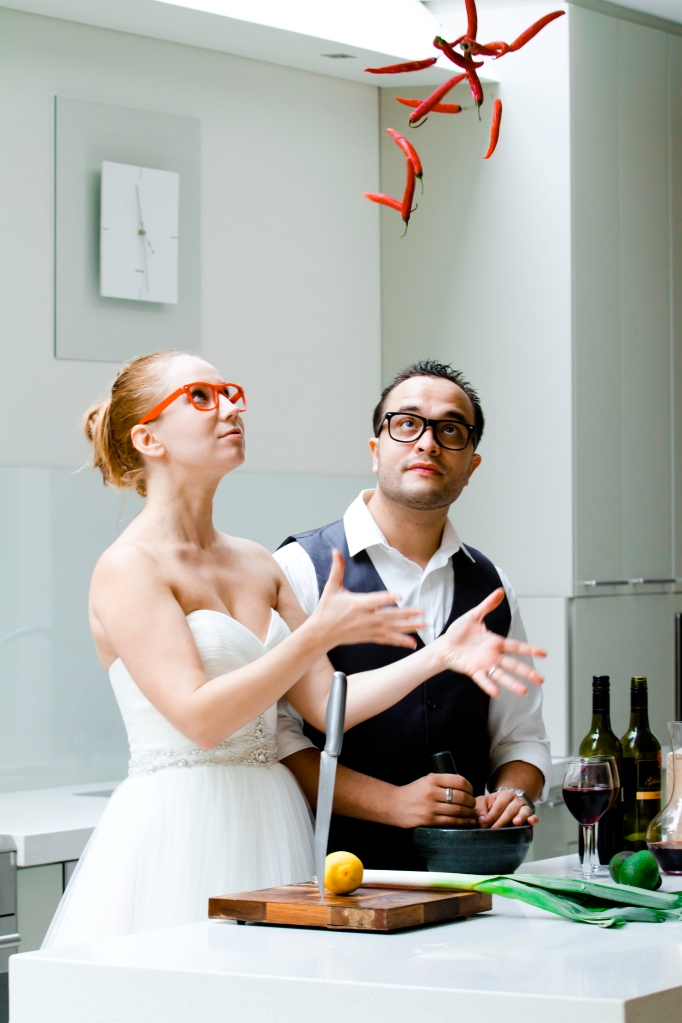 wedding portrait fun kitchen